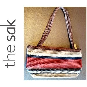 The Sak Bag, Multi-Colored Crochet, Brown/Red